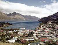 0123852 © Granger - Historical Picture ArchiveNEW ZEALAND: QUEENSTOWN.   View of the resort town of Queenstown on Lake Wakatipu, New Zealand's South Island, c1975.