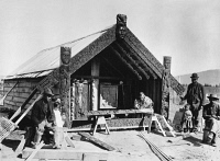 0351716 © Granger - Historical Picture ArchiveNEW ZEALAND, c1910.   Maori men building a meeting house in New Zealand. Photograph, c1910.