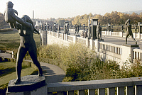 0055878 © Granger - Historical Picture ArchiveNORWAY: FROGNER PARK.   The Vigeland installation in Frogner Park in Oslo, Norway. The Bridge, with Mother Lifting Baby, sculpture by Gustav Vigeland, before 1930. Photograph.