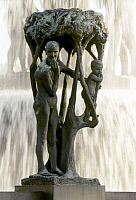 0055889 © Granger - Historical Picture ArchiveNORWAY: FROGNER PARK.   'Tree Group, Small Boy and Grandmother.' Bronze sculpture by Gustav Vigeland. In the Vigeland installation at Frogner Park in Oslo, Norway.