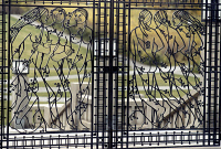 0055893 © Granger - Historical Picture ArchiveNORWAY: FROGNER PARK.   The main gate at the Vigeland installation in Frogner Park in Oslo, Norway. Wrought iron by Gustav Vigeland, c1926.