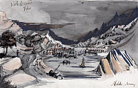 0527669 © Granger - Historical Picture ArchiveNORWAY, c1856.   A view of the village of Molde and the Moldefjord in Norway. Drawing by Bayard Taylor, c1856.