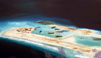 0621044 © Granger - Historical Picture ArchiveSPRATLY ISLANDS, c2015.   Fiery Cross Reef of the Spratly Islands in the South China Sea in the midst of Chinese land reclamation efforts. Photograph, c2015. Full Credit: CPA Media - Pictures from History / Granger, NYC. All Rights Reserved.