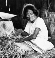 0623289 © Granger - Historical Picture ArchiveBIKINI ATOLL: RESIDENT.   An elderly woman weaver, a native resident of Bikini Atoll in the Marshall Islands. Photograph, 1946, before the island was evacuated for nuclear weapon tests by the United States.