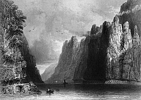 0165801 © Granger - Historical Picture ArchiveROMANIA: KAZAN PASS.   A view of Kazan Pass, on the border between Serbia and Romania (then part of the Kingdom of Hungary, in the Austrian Empire) on the Danube River. Steel engraving, English, 1844, after William Henry Bartlett.