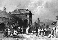0165802 © Granger - Historical Picture ArchiveROMANIA: WEDDING.   A wedding scene in Orsova, Romania (then part of the Kingdom of Hungary, in the Austrian Empire). Steel engraving, English, 1844, after William Henry Bartlett.