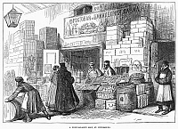 0095130 © Granger - Historical Picture ArchiveRUSSIA: FRUIT SHOP, 1874.   'A Fruit-Seller's Shop, St. Petersburg.' Wood engraving from an English newspaper of 1874.