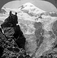 0095136 © Granger - Historical Picture ArchiveCAUCASUS MOUNTAINS, 1920s.   Mount Kazbek (16,545 feet) in the Caucasus Mountains, Russia. Stereograph view, early 1920s.