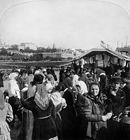 0118697 © Granger - Historical Picture ArchiveMOSCOW: MARKET, c1900.   An outdoor market for used clothing, Moscow, Russia. Stereograph, c1900.