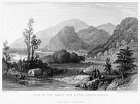 0077872 © Granger - Historical Picture ArchiveSOUTH AFRICA, 1841.   'Pass of the Great Fish River, South Africa.' Steel engraving by F. Goodall, after a drawing by William Purser. London, England, 1841.