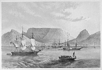 0095141 © Granger - Historical Picture ArchivePERRY AT CAPETOWN, 1853.  Commodore Matthew Perry's flotilla, en route to Japan, stops at Cape Town, South Africa, late 1852 or early 1853. Contemporary American lithograph by William Heine.