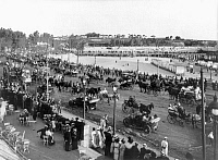 0115856 © Granger - Historical Picture ArchiveURUGUAY: MONTEVIDEO, 1914.   Parade of automobiles and carriages along a beachfront boulevard during a festival in Montevideo, Uruguay. Photograph, 1914.