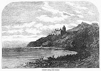 0092965 © Granger - Historical Picture ArchiveSCOTLAND: DUNROBIN CASTLE.   View of Dunrobin Castle in the Scottish Highlands, overlooking the Moray Firth. Wood engraving, English, 1855.