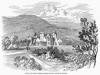 0092967 © Granger - Historical Picture ArchiveSCOTLAND: BALMORAL CASTLE.   View of Balmoral Castle, the British royal residence in Aberdeenshire, Scotland. Wood engraving, English, 1849.