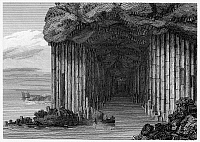 0094748 © Granger - Historical Picture ArchiveSCOTLAND: FINGAL'S CAVE.   View of Fingal's Cave on the island of Staffa in the Hebrides, off the coast of Scotland. Line engraving, English, 1808.