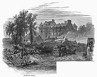 0094885 © Granger - Historical Picture ArchiveSCOTLAND: FALKLAND PALACE.   View of Falkland Palace, in Fife, Scotland. Wood engraving, c1875, by Edward Whymper.
