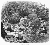 0094895 © Granger - Historical Picture ArchiveSCOTLAND: WASHING LAUNDRY.   A woman washing laundry by a river in the Scottish Highlands. Wood engraving, c1875, after Townley Green.