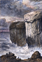 0097178 © Granger - Historical Picture ArchiveSCOTLAND: FINGAL'S CAVE.   View of Fingal's Cave on the island of Staffa in the Hebrides, off the coast of Scotland. Wood engraving, c1875, by Edward Whymper after R.P. Leitch.