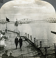 0322959 © Granger - Historical Picture ArchiveSCOTLAND: EDINBURGH, c1915.  'The pride of Scotland and the might of the Empire - Forth Bridge with British warships near Edinburgh, Scotland.' Stereograph, c1915.