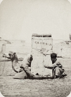 0114104 © Granger - Historical Picture ArchiveSAMARKAND: TRANSPORT, c1870.   Loading a large bundle onto a camel in the Zaravshan district of Samarkand. Photograph, c1870.