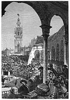 0005664 © Granger - Historical Picture ArchiveSEVILLE: BULL RING, c1875.   'A Ticket in the Shade.' Scene at the bull ring in Seville, Spain. Wood engraving, c1875, after Harry Fenn.