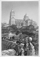 0059715 © Granger - Historical Picture ArchiveSPAIN: SALAMANCA.   Salamanca, Spain, viewed from the bridge. Steel engraving, c1875, after Harry Fenn.