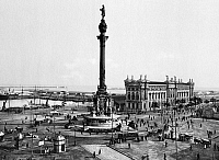 0119036 © Granger - Historical Picture ArchiveSPAIN: BARCELONA.   The Plaza and Peace Harbor of Barcelona. Photograph, c1910-1926.