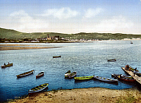 0119040 © Granger - Historical Picture ArchiveSPAIN: BASQUE COUNTRY.   A view of the waterfront from the small towns of Fuentarrabia and Hendaye in the Biscay Province, Basque country, Spain. Photograph, late 19th century.