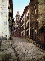 0119042 © Granger - Historical Picture ArchiveSPAIN: FUENTARRABIA.   A view of the street Calle Mayor in the town of Fuentarrabia, Spain. Photograph, late  19th century.