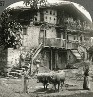 0324356 © Granger - Historical Picture ArchiveSPAIN: FARMHOUSE, c1900.   'Picturesque beauty of an old farmhouse near Lemona, Spain.' Stereograph, c1900.