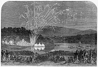 0061464 © Granger - Historical Picture ArchiveFIREWORKS AT CHRISTIANIA.   A view of fireworks at Christiania (present day Oslo, Norway). Wood engraving, English, 1869.