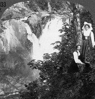 0326170 © Granger - Historical Picture ArchiveSWEDEN: HUSKVARNA FALLS.   Two women posed before the Huskvana Falls near Jonkoping, Sweden. Stereograph, c1900.