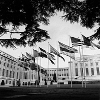 0216310 © Granger - Historical Picture ArchiveGENEVA: PALAIS DES NATIONS.   The Palais des Nations in Geneva, Switzerland, former headquarters of the League of Nations and currently houses the European Office of the United Nations. Photograph, 1960.