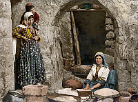 0130790 © Granger - Historical Picture ArchiveSYRIA: BREAD-MAKING, c1895.   Syrian women making bread. Photochrome, c1895.