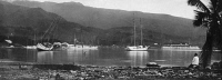 0351646 © Granger - Historical Picture ArchiveTAHITI: PAPEETE, c1920.   Boats in the harbor in Papeete, Tahiti in French Polynesia. Photograph, c1920.