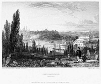 0017147 © Granger - Historical Picture ArchiveCONSTANTINOPLE, 1833.   View of the city from Pera. Steel engraving, English, 1833.