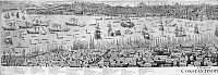 0127364 © Granger - Historical Picture ArchiveCONSTANTINOPLE, 1713.   Left part of a panoramic view of Constantinople. Line engraving by Gerard Hofsted van Essen, 1713.