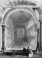 0127428 © Granger - Historical Picture ArchiveHAGIA SOPHIA, 1839,   Interior view of Hagia Sophia in Istanbul, Turkey. Lithograph from 'The Beauties of the Bosphorus' by Julia Pardoe, London, 1839.