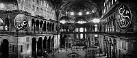 0133584 © Granger - Historical Picture ArchiveISTANBUL: HAGIA SOPHIA.   Panoramic of the interior of the Hagia Sophia, 6th century, in Istanbul, Turkey. Photograph, 20th century. RESTRICTED OUTSIDE US.