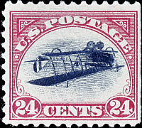0026069 © Granger - Historical Picture ArchiveU.S. POSTAGE STAMP, 1918.   The 1918 United States 24-cent Airmail Inverted Center, the most famous U.S. stamp error.