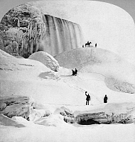 0117787 © Granger - Historical Picture ArchiveNIAGARA FALLS.   People standing on Ice Mountain, including a man waving his hat and a man on horseback on the hill in front of American Falls. Photographed by George E. Curtis, early 19th century.