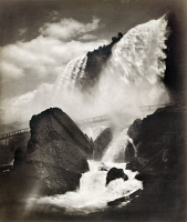 0117803 © Granger - Historical Picture ArchiveNIAGARA FALLS, c1888.   A view of Cave of the Winds with a walkway in the foreground, Niagara Falls, New York. Photographed by George Barker, c1888.