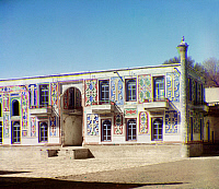 0122017 © Granger - Historical Picture ArchiveUZBEKISTAN: PALACE, 1911.   A facade of the palace of Emir Shir-Budun, in a country grove on the outskirts of Bukhara, Uzbekistan. Photographed by Sergei Mikhailovich Prokudin-Gorskii, 1911.