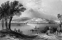 0165800 © Granger - Historical Picture ArchiveSERBIA: BELGRADE.   A view of Belgrade at the confluence of the Danube and Sava Rivers in the principality of Serbia, on the frontier between the Ottoman and Austrian Empires. Steel engraving, English, 1844, after William Henry Bartlett.