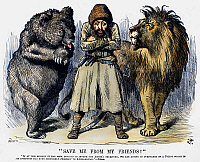 0094015 © Granger - Historical Picture ArchiveSECOND AFGHAN WAR, 1878.   'Save Me From My Friends!' Amir Sher Ali of Afghanistan endeavors to stand between the Russian bear and the British lion as each eyes the other with suspicion. English cartoon by Sir John Tenniel, 1878, shortly after the outbreak of the Second Afghan War.