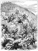 0052268 © Granger - Historical Picture ArchiveBATTLE OF MAJUBA, 1881.   The British retreating from the Boers down Majuba Hill, 27 February 1881. Contemporary wood engraving from an English newspaper.