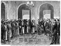 0265697 © Granger - Historical Picture ArchiveAFRICA: SLAVE TRADE, 1873.   'The slavery question in East Africa - Reception of Sir Bartle Frere in Durbar by the Sultan of Zanzibar.' Engraving, 1873