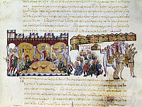 0115791 © Granger - Historical Picture ArchiveARABS IN SICILY, 1039.   Arab encampment around the town of Messina, Sicily, 1039. Byzantine manuscript illumination from the Skylitzes Codex, 13th-14th century.