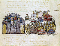0115792 © Granger - Historical Picture ArchiveARAB WARFARE, 1038.   Arabs trying to take the town of Edessa, in present day Turkey, by trickery. Byzantine manuscript illumination from the Sklylitzes Codex, 13th-14th century.