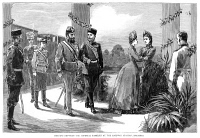 0370595 © Granger - Historical Picture ArchiveAUSTRIA: ROYAL MEETING, 1885.   Meeting of the families of Czar Alexander III of Russia and Emperor Franz Joseph I of Austria at the railway station at Kremsier, Austria. Engraving, English, 1885.